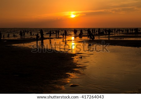 sunset at Bangsean beach,Chonburi,Thailand