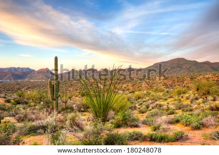 Sunset at Bartlett Lake, near Phoenix. - stock photo
