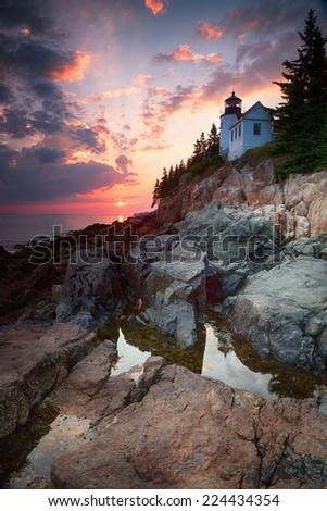 Sunset at Bass Harbor Lighthouse, Mount Desert Island, Maine, USA - stock photo