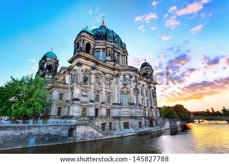 sunset at Berlin Cathedral (Berliner Dom) Berlin, Germany - stock photo