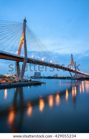 "Sunset at ""Bhumibol 1 Bridge"" cross overpass Chao Phraya River ,Bangkok ,Thailand"