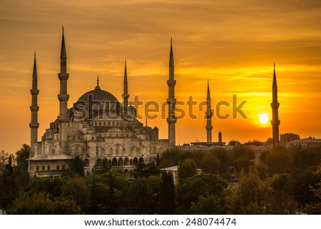 Sunset at Blue Mosque - stock photo