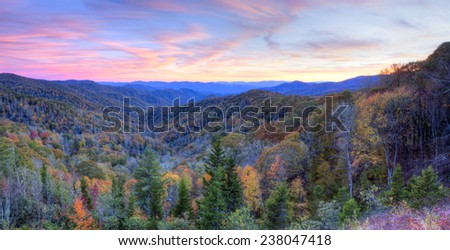 Sunset at Blue Ridge Parkway, at autumn. - stock photo