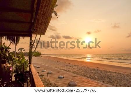 Sunset at Bome beach in Bata in Equatorial Guinea - stock photo