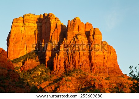 Sunset at Cathedral Rock in Sedona Arizona - stock photo