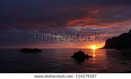 sunset at coast of the sea