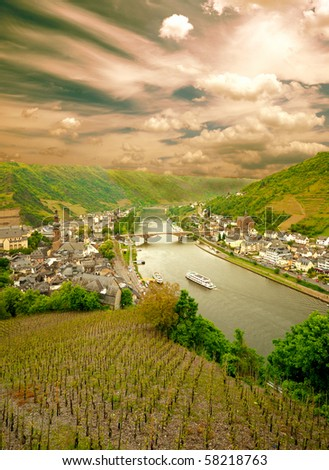 Sunset at Cochem city, Germany. View from Reichsburg Castle. - stock photo