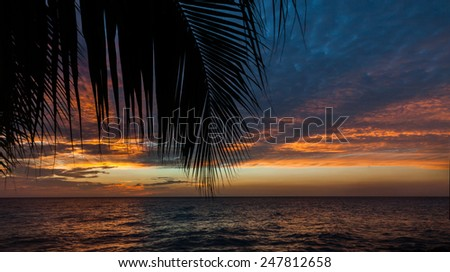 Sunset at Coral estate and karakter Curacao   in the Dutch Antilles a Caribbean Island - stock photo
