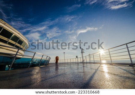 sunset at cruise deck - stock photo