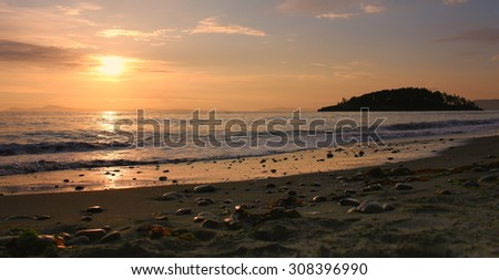Sunset at Deception Pass - stock photo
