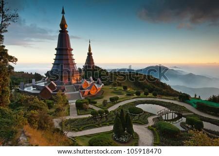 Sunset at Doi Inthanon national park of Thailand - stock photo