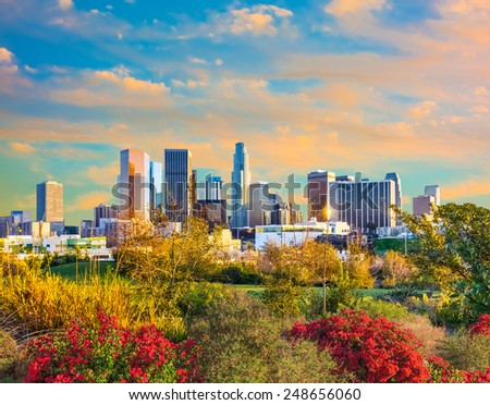 Sunset at  downtown Los Angeles Skyline and flowers ,California - stock photo