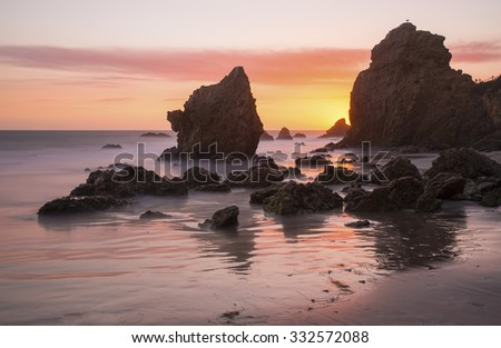 Sunset at El Matador State Beach in Malibu, California, off the Pacific Coast Highway (SR 1). - stock photo