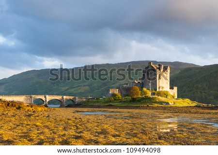 Sunset at Elian Donan Castle, Isle of Skye, Scotland - stock photo
