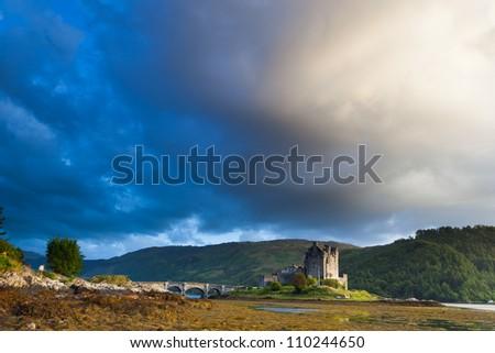 Sunset at Elian Donan Castle, Isle of Skye, Scotland - stock photo
