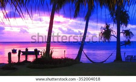 Sunset at Fiji Resort - stock photo