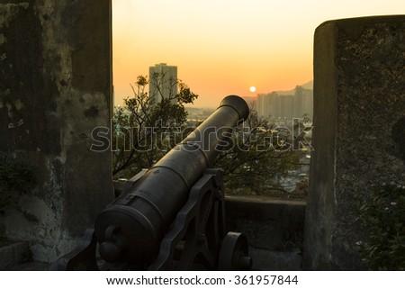 Sunset at Fortaleza do Monte, Macau - China - stock photo
