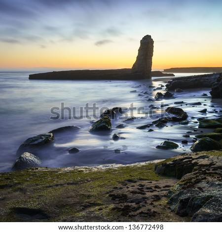 Sunset at Four Mile Beach, Santa Cruz, California - stock photo