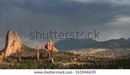 Sunset at Garden of the Gods Rock Formation in Colorado. - stock photo