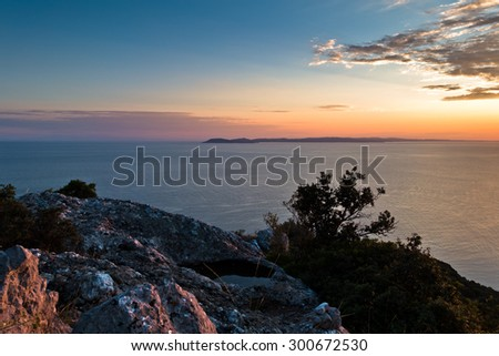 Sunset at greek coast in Sithonia, aerial photo from the top of a hill, Greece - stock photo