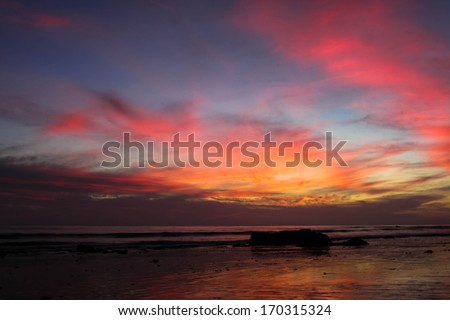 Sunset at Handry's Beach in Santa Barbara. - stock photo