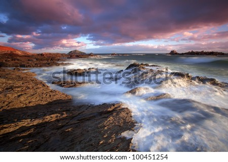 Sunset at Heybrook Bay, Devon, UK - stock photo