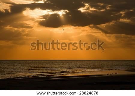 Sunset at Honeymoon Island - stock photo