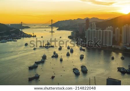 Sunset at Hong Kong downtown - stock photo