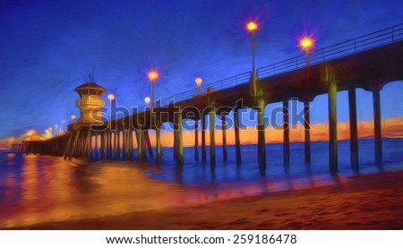 Sunset at Huntington Beach Pier, Huntington Beach, California - stock photo