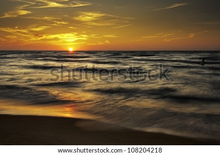 Sunset at Indiana Dunes Sunset at Indiana Dunes in the Summer. - stock photo