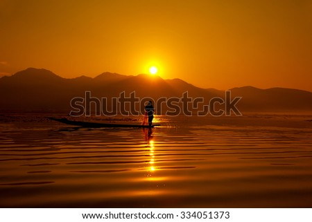 Sunset at Inle Lake, Myanmar (former Burma)