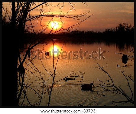 Sunset at Jacobsen - stock photo