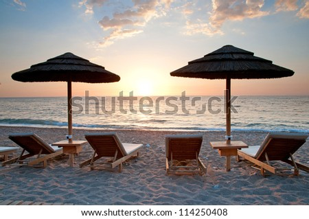 Sunset at Kalo Nero the beach ,Peloponnese  ,Greece - stock photo