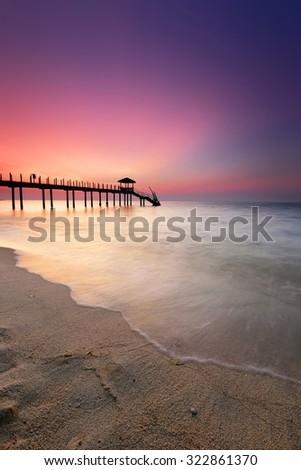 Sunset at Kerachut Beach, Penang National Park, Malaysia.Nature composition - stock photo