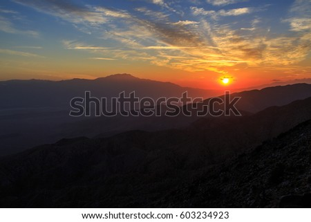 Sunset at Key View in Joshua Tree NP, California