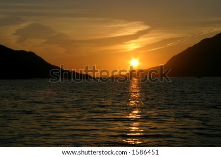 sunset at killary fjord