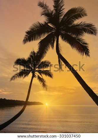 Sunset at Koh Kut Island, Trat Province .This is a destination of Thailand - stock photo