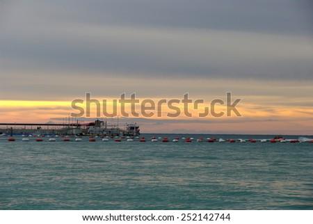 Sunset at Koh Lan (island),Pattaya beach,Thailand. - stock photo