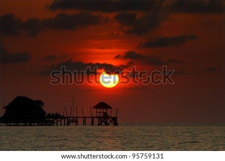 Sunset at Koh Mak, Trat, Thailand - stock photo