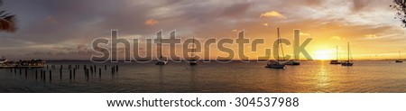 Sunset at Kralendiik sea front Views around Bonaire a small island in the Caribbean - stock photo