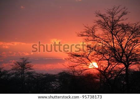 Sunset at Kwando River, Caprivi Strip, Namibia - stock photo