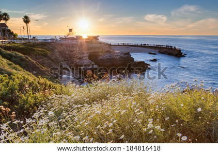 Sunset at La Jolla cove beach, San Diego, California - stock photo