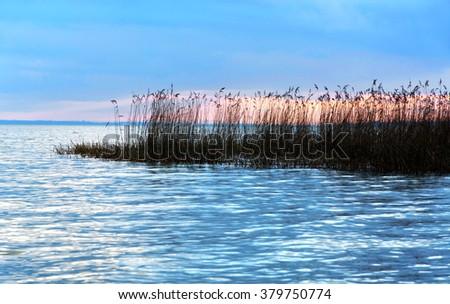 Sunset at Lake Balaton , Hungary - stock photo