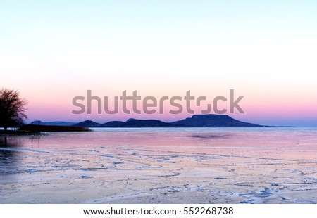 Sunset at Lake Balaton in winter time (Balatongyorok), Hungary