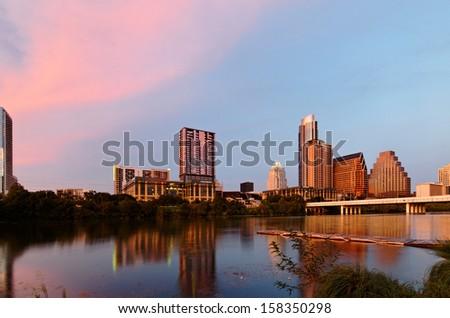 Sunset at Lake LBJ - stock photo