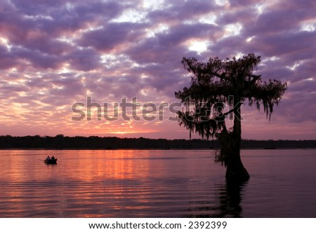 Sunset at Lake Martin near Breaux Bridge, Louisiana. - stock photo