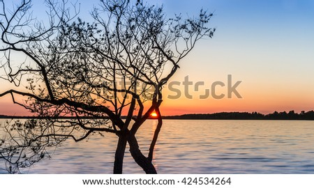 Sunset at lake Saadjarv, Estonia. - stock photo