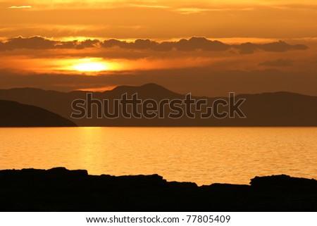 Sunset at Lake Turkana, Kenya - stock photo