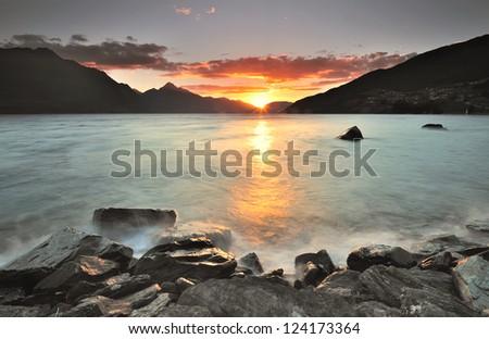 Sunset at Lake Wakatipu, Queenstown, New Zealand - stock photo