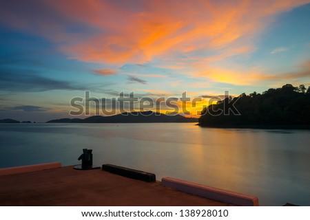 sunset at langkawi island, malaysia - stock photo